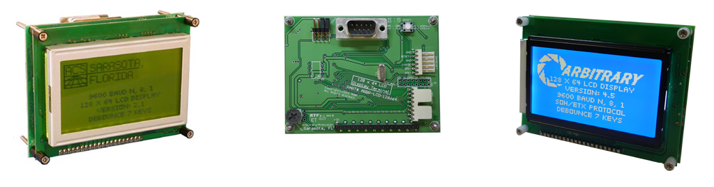 Serial LCD Graphic LCD Display Terminal - RS-232 display, with ANSI